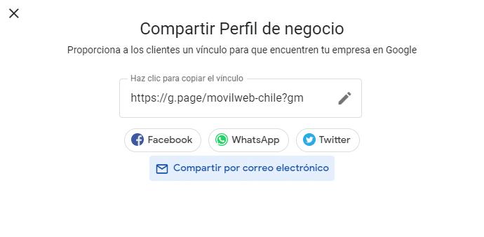 Google mi negocio compartir perfil