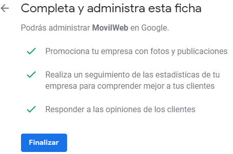 Google mi negocio configuracion final