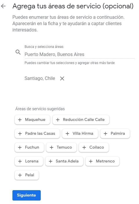 Google mi negocio configuracion fuera ubicacion seleccion