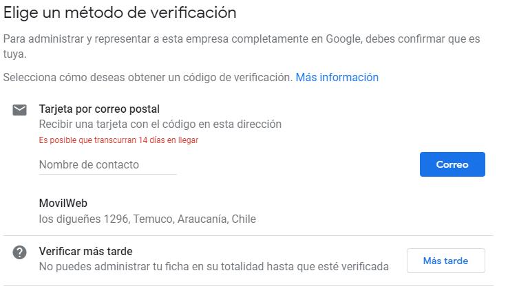 Google mi negocio configuracion metodo de verificacion
