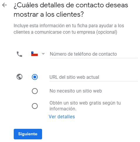 Google mi negocio configuraciondetalles de contacto