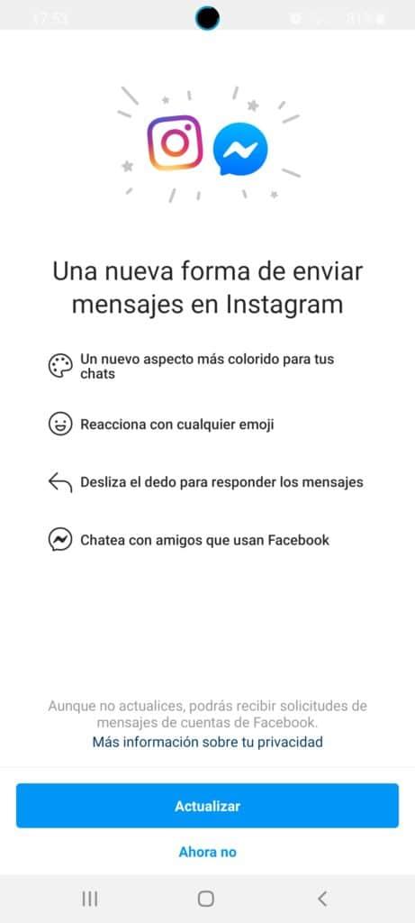 Facebook Messenger se fusiona con Instagram Direct 3